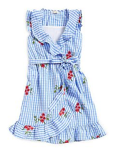 Monteau Girl's Gingham Floral Ruffle Dress