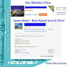 Don't you want to go to Cabo San Lucas? Look at this deal! Kayak's best price on this trip is $4644 - Our members pay $715!!  We have savings like this to destinations worldwide all the time!!! Travel whenever you want, with whomever you want! That's the Ultimate LifeStyle! Call now to find out how YOU can travel the Ultimate way! 972-584-7860  #travel #bucketlist #vacation #money #entrepreneur #getaway #Cabo #honeymoon #ULTB #EFM
