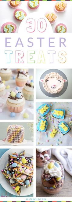Easter Treat Ideas for Kids | Easy to make sweets that are perfect for your children's school class party or just for fun - super cute yet simple desserts - including cakes, bark, brownies, peeps, bunnies, lambs, mini eggs, rice krispies and more! Plus creative food for Breakfast, Lunch and Healthy Snacks!