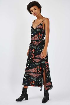 **Geo Print Midi Slip Dress by Nobody's Child - Dresses - Clothing - Topshop Geo, Topshop, Hair Accessories, Child, Inspiration, Outfits, Shopping, Clothes, Collection