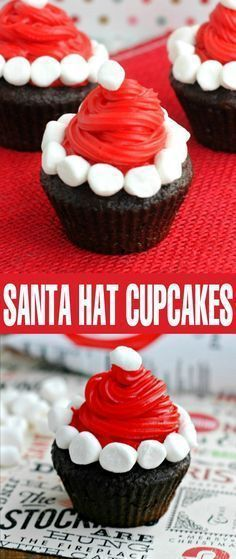 Santa Hat Cupcakes are perfect for a Christmas party desserts table. Your family will love this easy Christmas treat idea!These Santa Hat Cupcakes are perfect for a Christmas party desserts table. Your family will love this easy Christmas treat idea! Easy Christmas Treats, Holiday Snacks, Christmas Party Food, Xmas Food, Christmas Cupcakes, Christmas Sweets, Christmas Cooking, Holiday Recipes, Santa Christmas