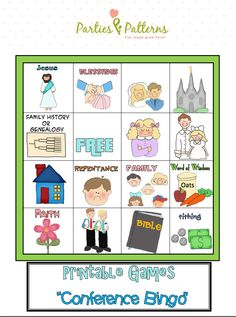 Growing up we always played general conference bingo! I'm excited to print this off for my primary kids and have them play while they watch Sunday's sessions. :)