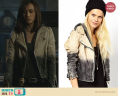 Tess's leather ombre moto jacket on Beauty and the Beast. Outfit Details: http://wornontv.net/25274 #BeautyandtheBeast #fashion #BATB