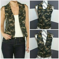"""Army Print vest NWOT Brand new, no tags  Fun army print vest!! Tops of details all over. Studs on collar, patch and chain details on shoulders, 1 pocket on right side,zipper pocket on left side. Pair with a dress, or over a collared shirt with jeans, even with white shorts, t-shirt and flats. The style options are endless!!!  Material 100% cotton Length approx 20"""" Bust seam to seam approx 17"""" (when zipper closed) Jackets & Coats Vests"""