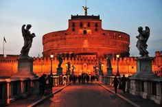 The view of Castel Sant'Angelo from the Ponte Sant'Angelo bridge, Rome.