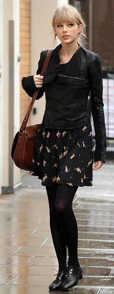 black on black + print skirt! I HAVE THAT JACKET! from Forever 21