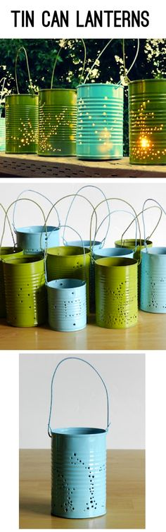 Repurpose tin cans; Make these fun outdoor luminaries in any color! Great for outdoor parties!