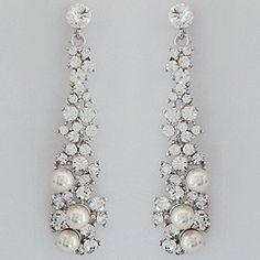 """Pearl & Crystal """"Skinny"""" Chandelier Bridal Earrings or Evening Wear"""