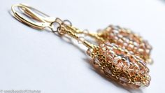 Gold Beaded Crystal Earrings, 14k Gold Filled, Bead Weaving, Boho Chic, Swarovski Crystal, Elegant Flowers, Golden Shadow, Drop Earrings by seedbeadsofchange on Etsy