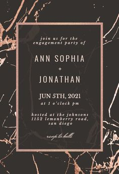 Rose Gold Marble - Engagement Party Invitation #invitations #printable #diy #template #Engagement #party #wedding