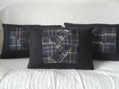 Tartan patchwork cushion grey purple yellow by Oneofthreedesigns, £20.00