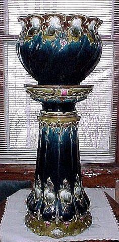 RARE Antique ART NOUVEAU Circa 1900 Julius Dressler Majolica Jardiniere and Pedestal