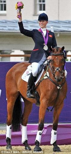 Zara Phillips with her Olympic silver medal.