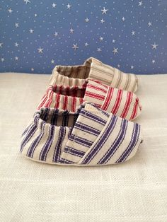 """Fitted """"Tom Style"""" Baby Shoes in a Navy, Scarlet, and Khaki Ticking (unisex) made by Scarlettos. $22.00, via Etsy."""