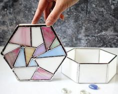 Table Decor Glass Box Geometric Stained Glass Jewelry by LaurusArt