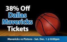 38% off Dallas Mavericks Tickets vs Detroit Pistons Sat. Dec. 1 @ 8:00pm