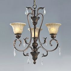 Chandelier, 3 Lights, Traditional Elegant Iron Glass Painting – LightSuperDeal.com