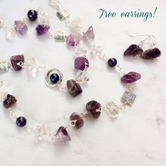 Long Amethyst Bead Necklace with Quartz chunks, pewter beads and Swarovski pearls. Great long purple necklace for any day wear! Wire wrapped with silver plated copper wire.Unique chunky amethyst …