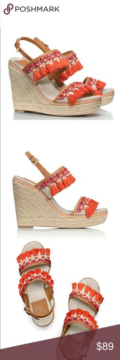 """Tory Burch Niyah Wedge 4.7"""" (120 mm) espadrille rope heel. Linen and leather upper. Tassel fringe detail. Roller buckle closure at ankle.                       New in Box with dust bag. Size 11. Retail $275. Tory Burch Shoes Wedges"""