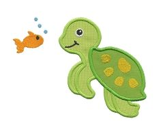Turtle and Fish Applique - 3 Sizes! | Beach/Ocean | Machine Embroidery Designs | SWAKembroidery.com Applique for Kids