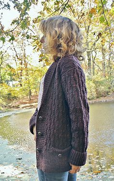 Chocolate Stout cardigan pattern by Thea Colman (knitting, cables, shawl collar, pockets, bottom-up, babycocktails)