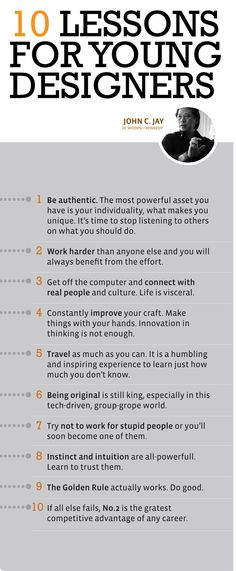 Business infographic John Jays 10 lessons for young designers More Than Branding Graphisches Design, Design Basics, Graphic Design Tips, Graphic Design Inspiration, Tool Design, Design Process, Design Ideas, Ideas De Merchandising, Guter Rat
