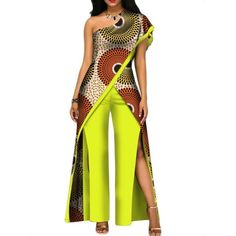 African Top-Pant Set For Women Sexy Off Shoulder Jumpsuit Dashiki African Fashion Ankara, Latest African Fashion Dresses, African Print Fashion, Xhosa Attire, African Attire, African Dress, African Lace Styles, African Tops, African Traditional Dresses