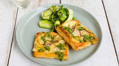 Artichoke and Brie Tarts with Pea and Courgette Salad.