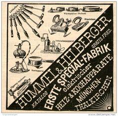 Original-Werbung/Inserat/ Anzeige 1899 - ELEKTRISCHE HEIZ-UND KOCHGERÄTE HUMMEL & HEILBERGER MÜNCHEN - ca. 90 X 90 mm
