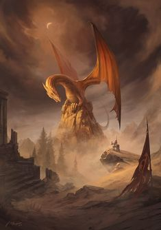 Aftermath by jcbarquet. Dragon surveys the ruins Magical Creatures, Fantasy Creatures, Dragon Medieval, Cool Dragons, Dragon Artwork, Legendary Creature, Dragon Pictures, Dragon's Lair, World Of Fantasy