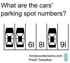 Puzzle 3/3: This is another variation of the viral Hong Kong parking math problem that I came up with.  Answers: https://www.youtube.com/watch?v=SYCRyH_-3f4  Video: https://www.youtube.com/watch?v=OGOzKu33zaI  Blog: http://mindyourdecisions.com/blog/2015/06/28/where-is-the-car-parked-viral-math-problem-from-hong-kong-plus-2-variations-sunday-puzzle/#.VZBXzflVhBc