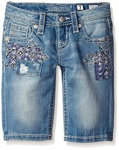Miss Me Little Girls Embroidered Bermuda Denim Short, Light, 10. Featuring unique whisker wash detailing. Miss Me logo hardware detail throughout.