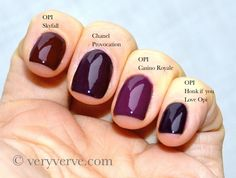 veryverve: Chanel Provocation nail polish comparison Malice, Rouge Noir, Vertigo, Paradoxal, OPI Casino Royale, Skyfall, Honk if you love op...