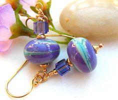 Purple Turquoise Lampwork Glass Bead Earrings, Beaded Earrings,Tanzanite,Gold Earrings - CAROUSEL. £13.00, via Etsy.