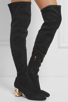Perspex heel measures approximately 85mm/ 3.5 inches Black suede Zip fastening…