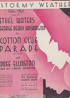 DUKE ELLINGTON COTTON CLUB PARADE ETHEL WATERS 1930s GRAPHIC ART SHEET MUSIC