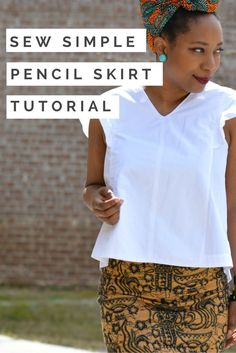 Pencil skirts are classic and prints are very much on trend now. Combine the two for a custom DIY stretch knit pencil skirt! diy ankara print skirt, african print skirt tutorial, skirt with side split diy, african print skirt outfit, ankara fabric headwra