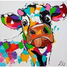 Cow separately by Schilderij van Liz (Paintings by Liz: <Corrie Leushuis and Renate Rolefes> Ootmarsum, Holland)