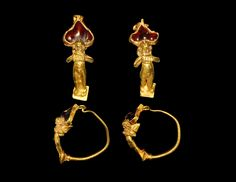 GREEK GOLD FIGURAL EARRING PAIR 4th-3rd century BC