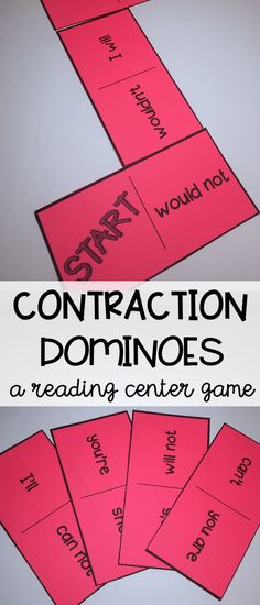 A reading center game to practice reading contractions - contraction word dominoes Teacher Resources, Teacher Pay Teachers, School Resources, Teaching Ideas, Comprehension Activities, Reading Comprehension, Reading Centers, Writing Centers, Literacy Centers