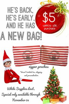 November 1-24, 2015!! The Zipper Pouch is only Sale for $5...with a $35 Purchase!