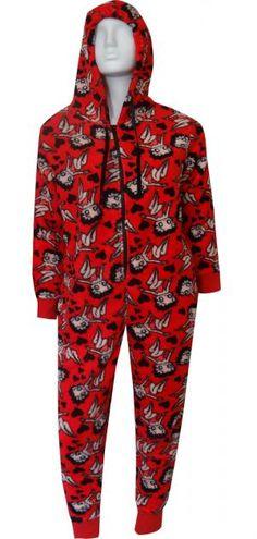 Betty Boop Red Plush One Piece Hoodie Pajama