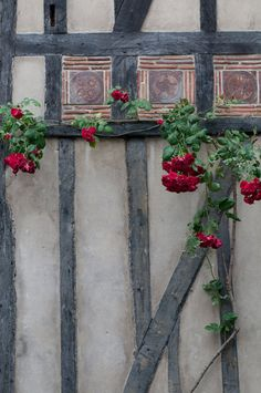Either tiles set into the wood frame or into the wall with the wood designed to outline them. Love the added, unique detail to the frame for the roses to climb.