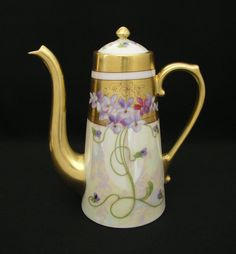 """Up for sale is a gorgeous antique (c. 1910) Limoges France Coffee / Chocolate Pot Set. It includes a pot w/ lid, sugar bowl (without lid), creamer and four small cup and saucer sets. They were all decorated and hand painted & signed by Pickard decorator """"Ray"""". 