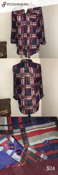 Plaid Red Blue Black Tunic Top Size Small Plaid Red Blue Black Tunic Top Size Small, I think this is a Francesca's top. Francesca's Collections Tops Tunics