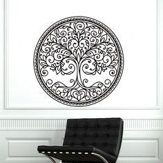 Wall Decals Tree Decal Vinyl Mandala Stickers Nursery Bedroom Window Kithen  Room Home Decor Nature Art Murals Ah184