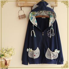 Cute cat ear hooded coat $32.00 http://thingsfromjapan.net/cute-cat-ear-hooded-coat/ #kawaii Japanese jacket #kawaii Japanese fashion #cute cat jacket