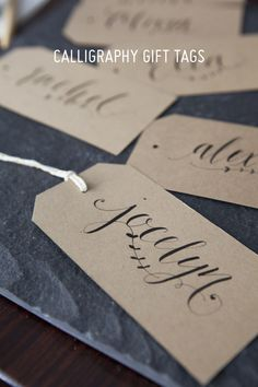 Calligraphy Gift Tags - Oh So Very Pretty | A few of our favourite little things