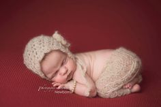 Crochet newborn baby mohair pants and bonnet by FreshOffTheeHook