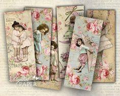 Pink Moon - Juego De 6 Marcadores - collage digitales - Archivos JPG imprimible